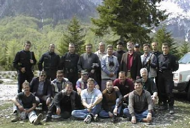 Joe with drivers and security detail and other Embassy personnel in Valbona (Albania) a couple weeks before his death